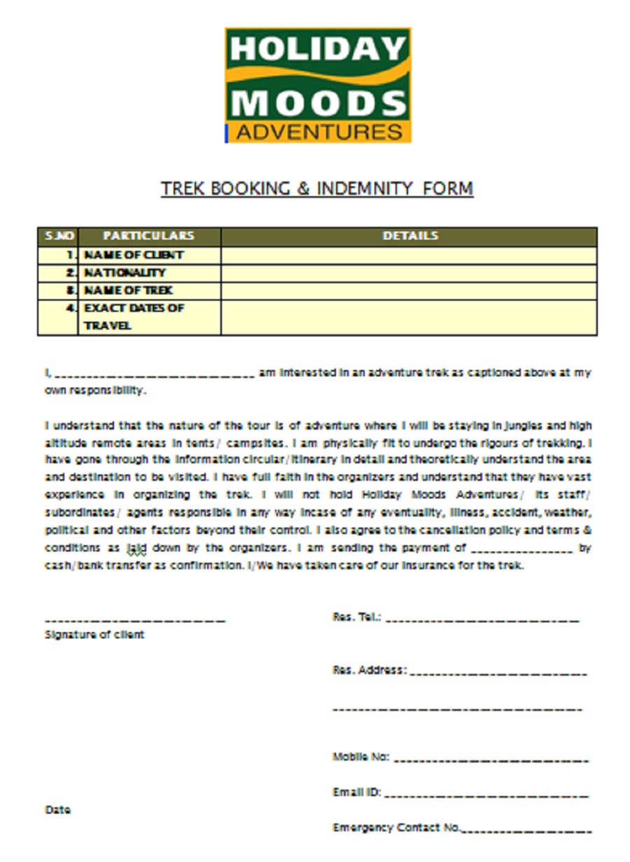 indeminity form