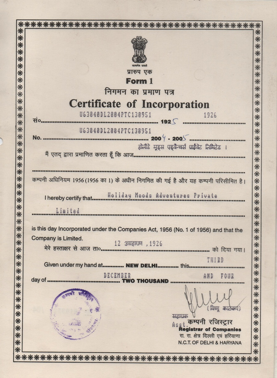 cert of incorporation
